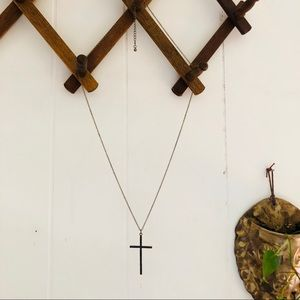 Vintage Etched Brass Cross Necklace